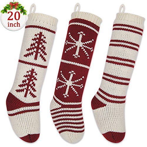 LimBrige 3 Pack 20quot Large Luxury Knit Knitted Christmas Stockings Classic Xmas Tree / Snowflake / Stripe Rustic Personalized Stocking Decorations for Family Holiday Season Decor