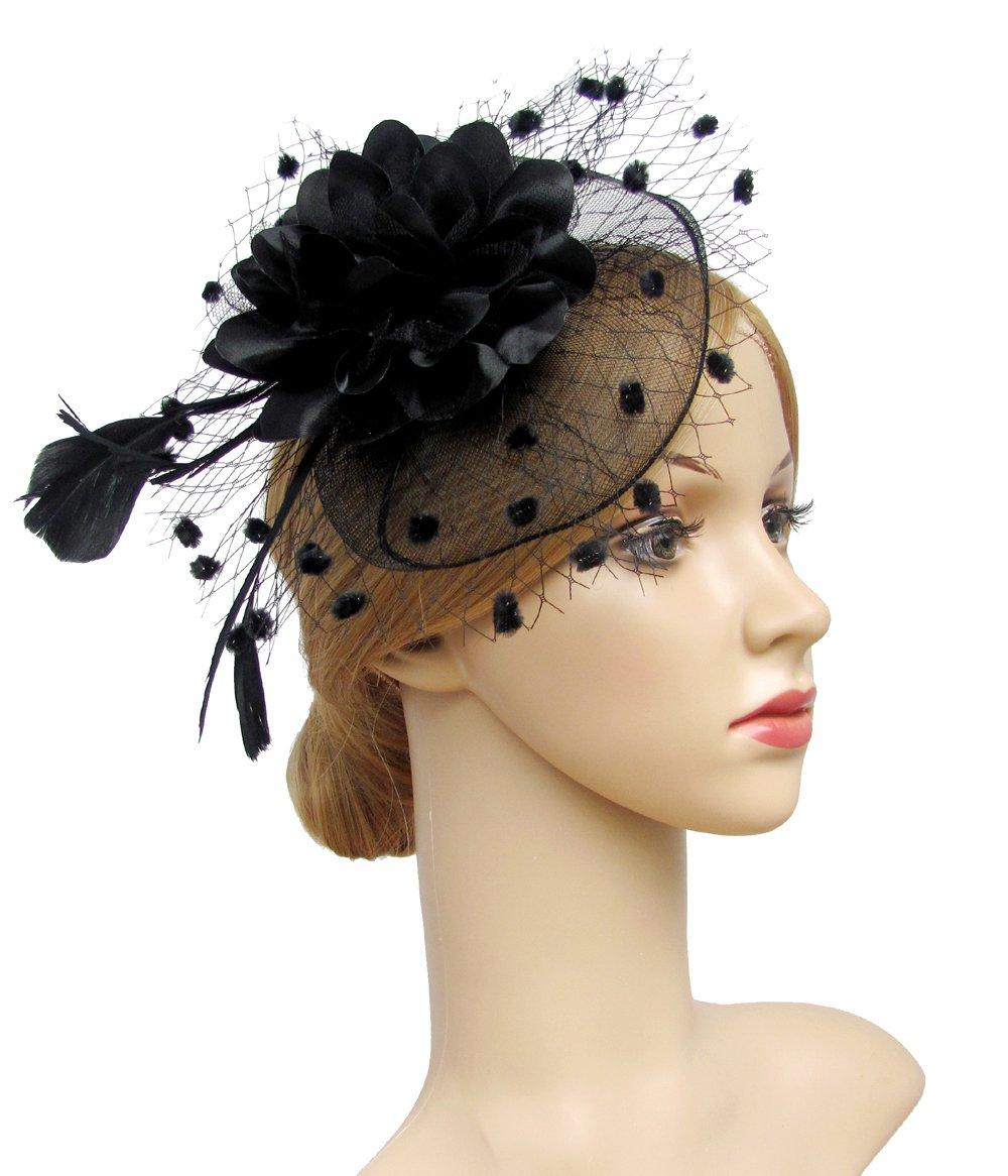 K.CLASSIC Fascinators Hats for Womens 50s Headwear with Veil Flower Cocktail Tea Party Headwear(A-Blck)