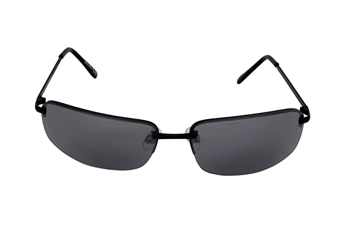 Foster Grant SPVL 14914 FG113 Unisex Semi Rimless Rectangular Sunglasses Black Metal Frame & Arms Black