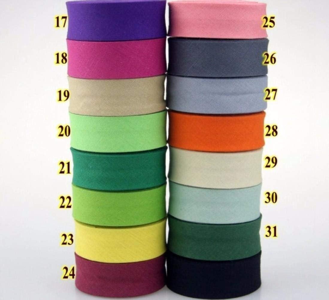 manualidades Cinta al bies de algod/ón de 20 mm de ancho con planchado para confecci/ón 30 unidades