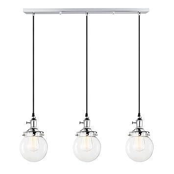 Pathson Retro - Lámpara de Techo Colgante de Cristal con diseño de Globo de Cristal