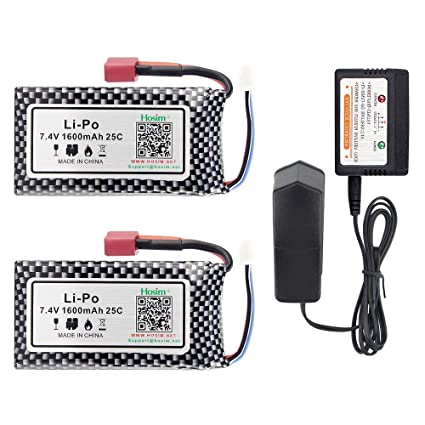 Amazon.com: Hosim 7.4V 1600mAh RC Coche Recargable Li-Po ...