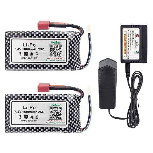 Hosim 2pcs 7.4V 1600mAh 25C T Connector Li-Polymer Rechargeable Battery Pack and 1pcs Balance Charger, Li-Po Rechargeable Battery for Hosim 9125 ...