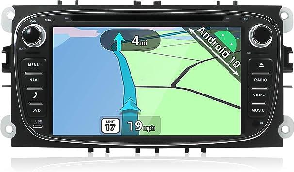 YUNTX Android 10 Autoradio Compatible con Ford Mondeo/S-MAX/Focus/C-MAX/Connect/Galaxy - GPS 2 DIN - Cámara Trasera y micrófono Gratis - Soporte ...