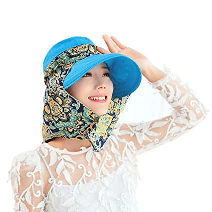 388b12425 Ezyoutdoor Blue Anti-UV Sun Hat With Removable Sun Shield And Neck Face  Mask Protection, Quickly Dry, Fishing Hunting Camping Swimming Hiking Cap  With ...