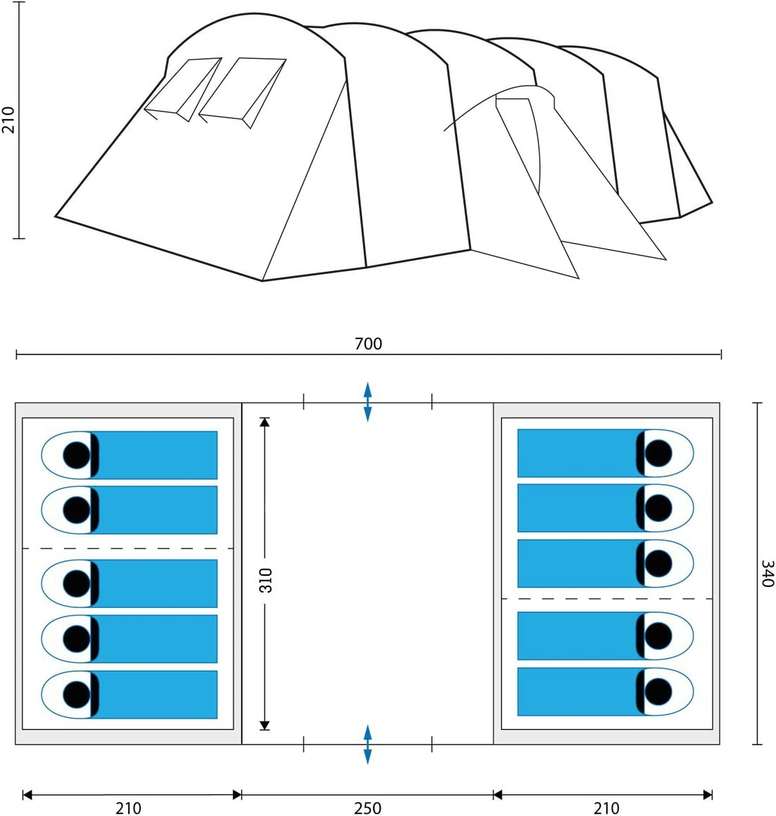 Tunnel-Zelt mit 2 Schlaf-Kabinen Gro/ßes Insekten-Netzen und /über 2 m Stehh/öhe mit eingen/ähter zeltboden skandika Milano 10 Personen Familien Zelt wasserdicht durch Starke 5000 mm Wassers/äule