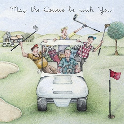 GOLF RABBITS ON FAIRWAY FUNNY HUMOUROUS HAPPY BIRTHDAY CARD THE – Golfing Birthday Cards