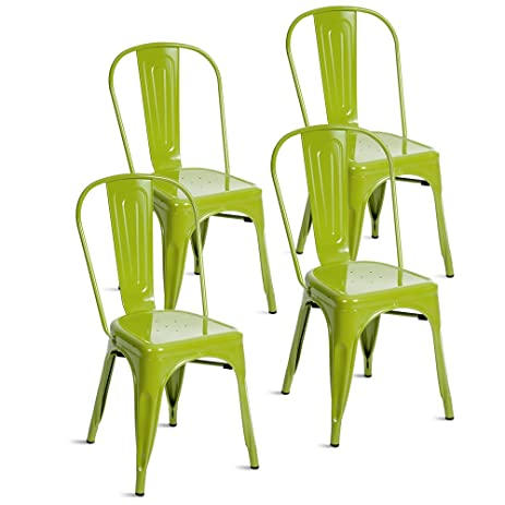 Merax Indoor Outdoor Use Tolix Style Metal Bistro A Dining Side Chair  Stackable Highback Chic