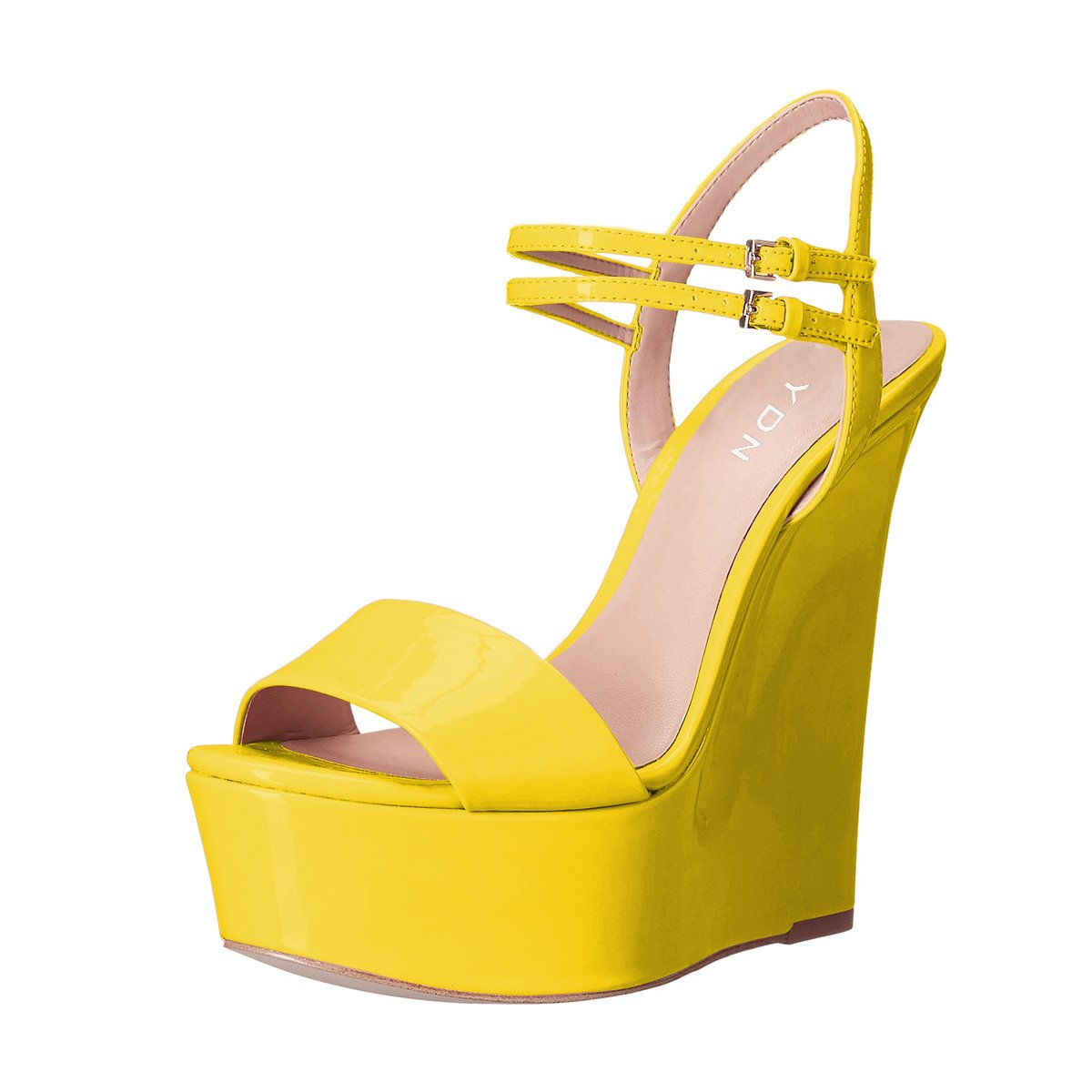 YDN Women Peep Toe High Heel Wedge Sandals Ankle Straps Platform Pumps Slingback Shoes B0711LC6XR 9 B(M) US|Yellow