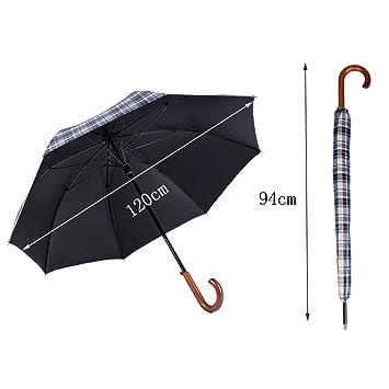 T.Kerry Sombrilla Azul Paraguas Largo Paraguas Hombres Mujer Caballero Paraguas Golf Reforzado Fibra De Vidrio Paraguas Viento Resistente Un Toque Adecuado ...