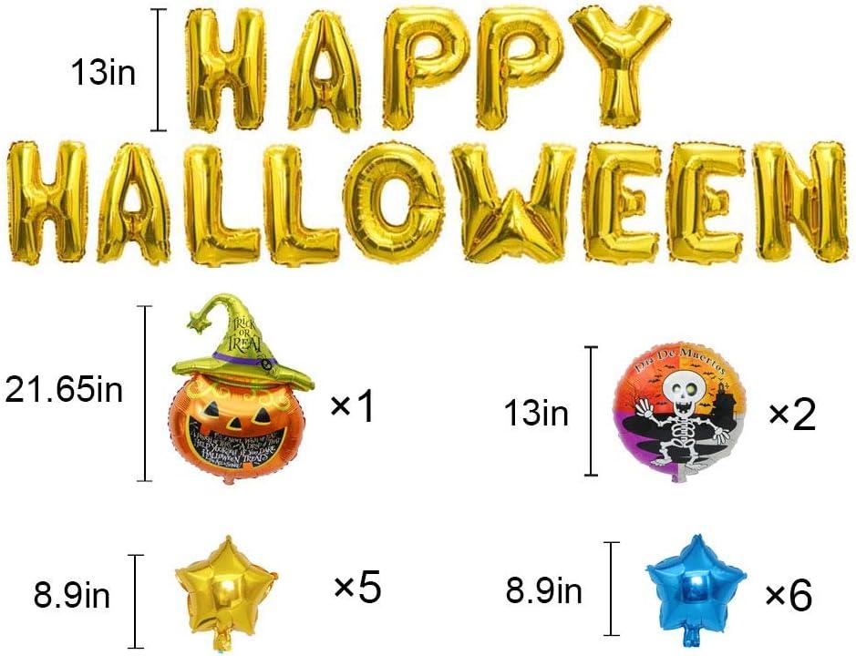Mekereke Pumpkin Halloween Party Gold Happy Halloween Foil Balloon Banner Party Supplies Include Halloween Banner//Black Cat Pumpkin//Skull ghost//Star(28pcs)