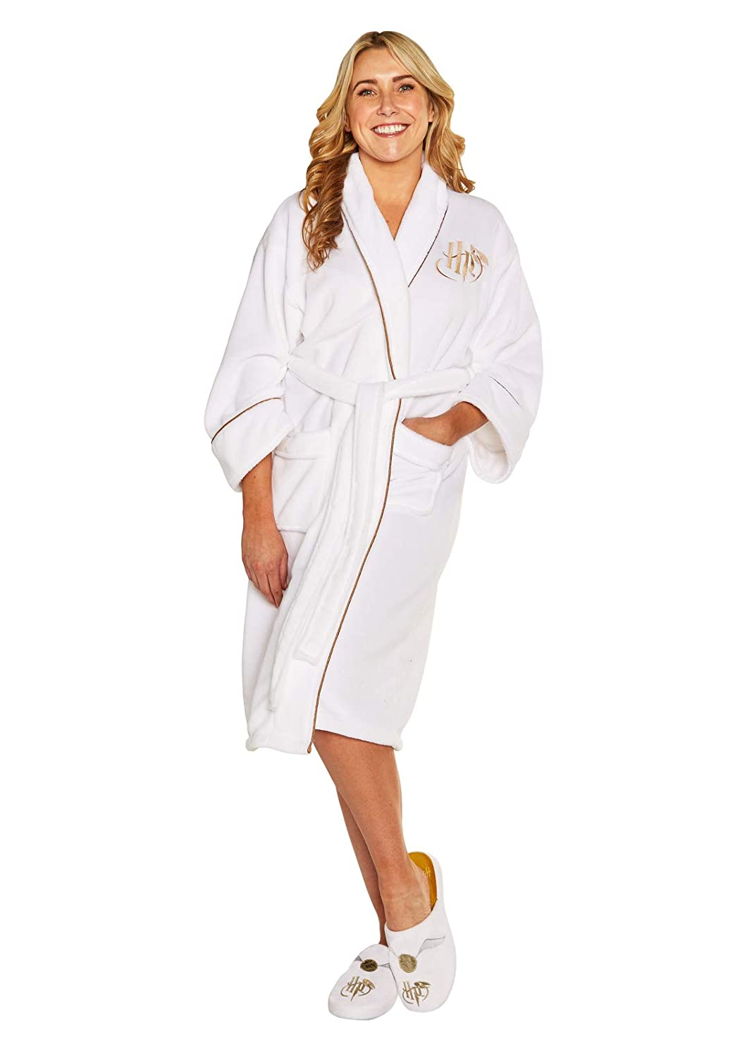 Harry Potter Ladies Fleece Bathrobe Golden Snitch Groovy Pigiami