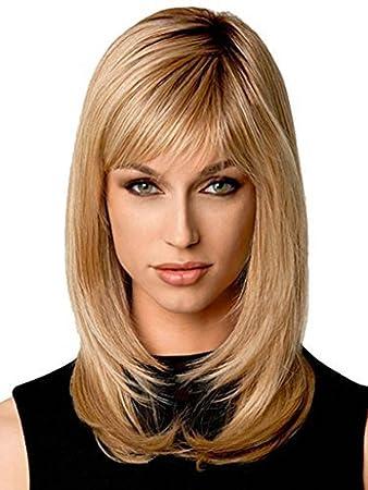 Natural Shoulder Length Blonde Wig Mikwig Glamorous Medium Length