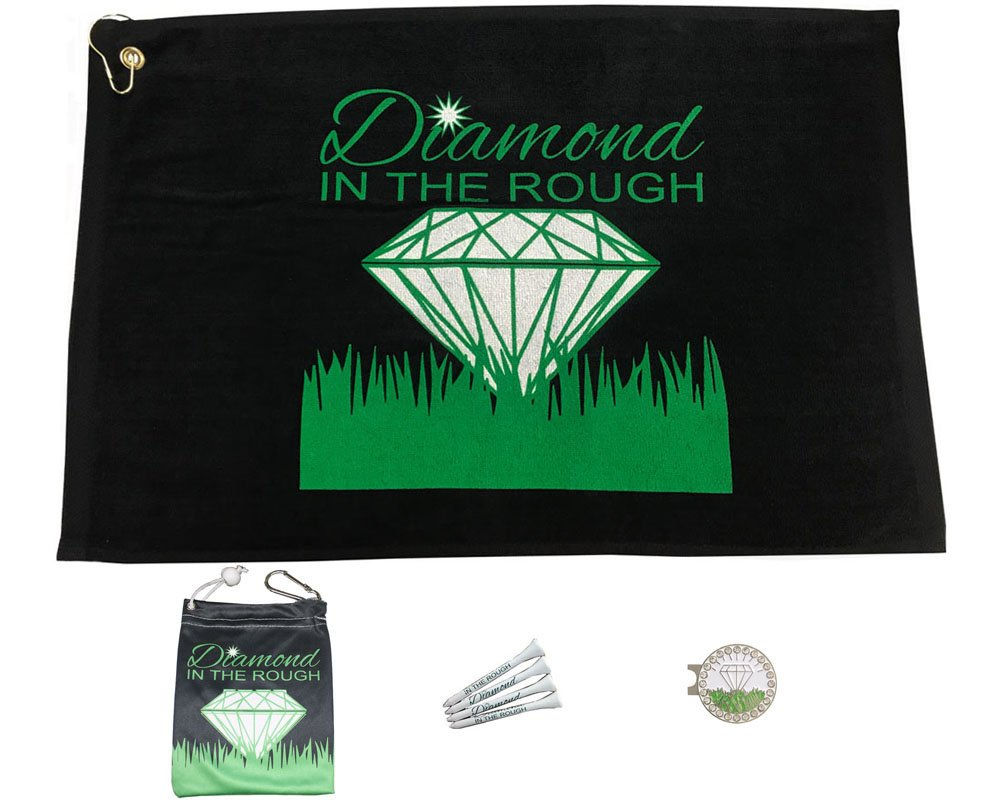 Giggle Golf Par 3 - Diamond In The Rough Towel, Tee Bag Bling Ball Marker Hat Clip - Perfect Golf Gift Women