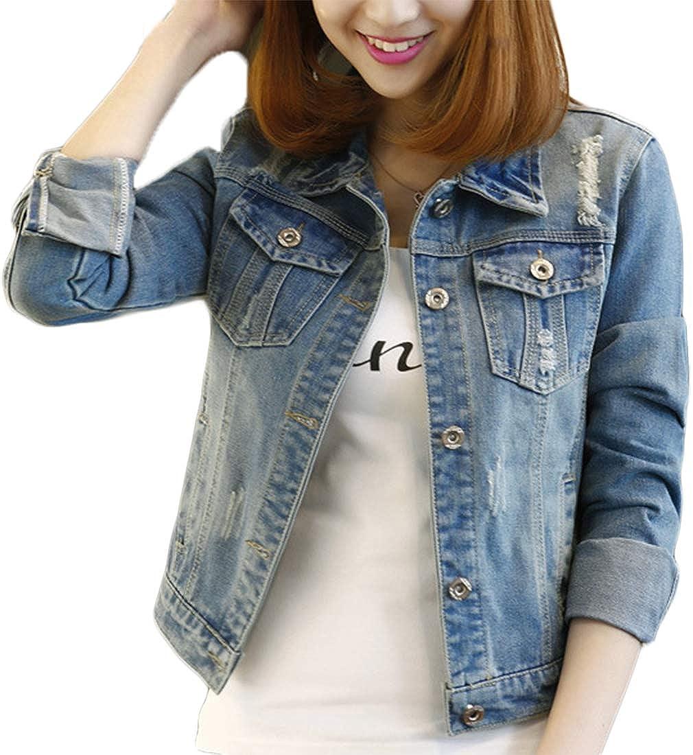 Fesky Long Sleeve Denim Jacket Ripped Jean Jacket Boyfriend Coat Women