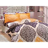 4 Pieces Queen Duvet Cover Set by LaModaHome, Vintage Boho Bohemia Exotic Patterns Floral Design on Quilt Cover and Pillow Cases, 100% Cotton Ranforce Fabric Bedding Set, Purple Yellow Gray White