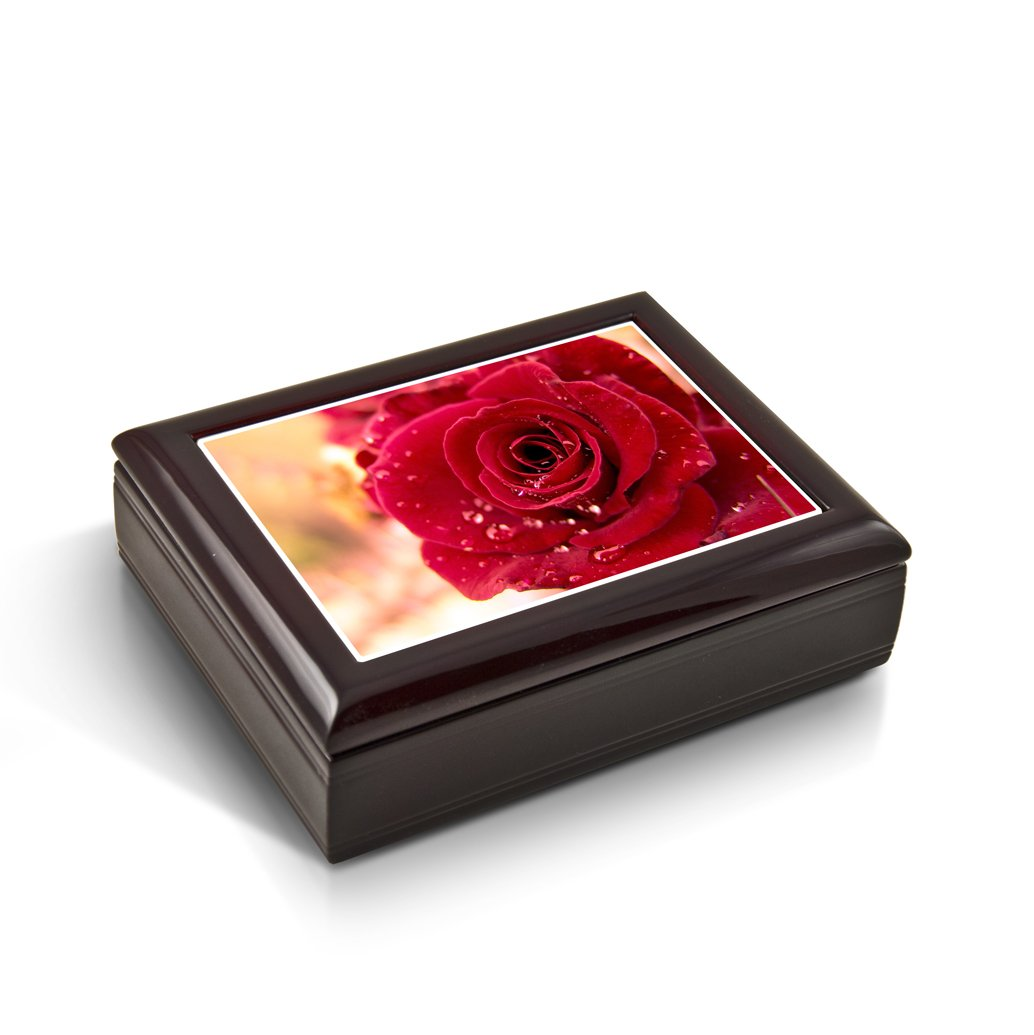 Romantic Red Rose With Water Beads Tile Musical Jewelry Box - Rock of Ages - Christian Version by MusicBoxAttic