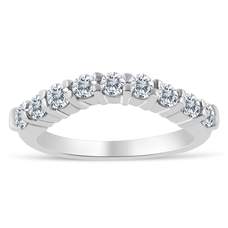 Amazon 1 2ctw Chevron Diamond Wedding Band in 10k White Gold