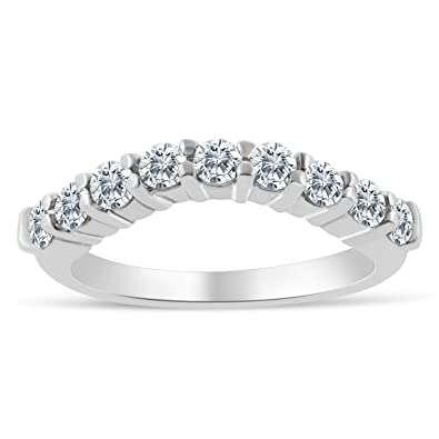 Amazoncom 12ctw Chevron Diamond Wedding Band in 10k White Gold