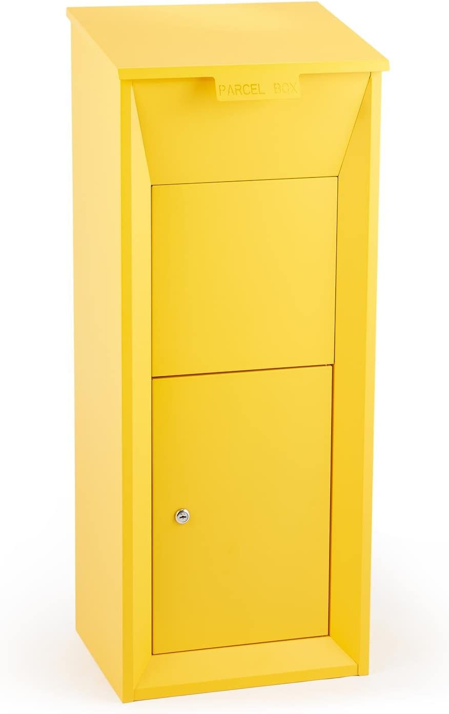 Waldbeck Postbutler Buzón de paquetería (Puerta con Cerrojo, fijación al Suelo,Exterior, para Paquetes, Cartas y Correo) - Amarillo