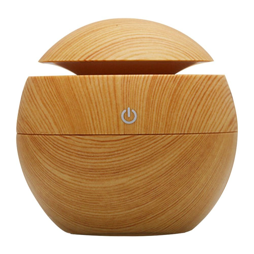 Toogoo USB Aroma Humidifier ESSential Oil Diffuser Ultrasonic Cool Mist Humidifier Air Purifier 7 Color Change LED Night light for Office Home:Light Wood