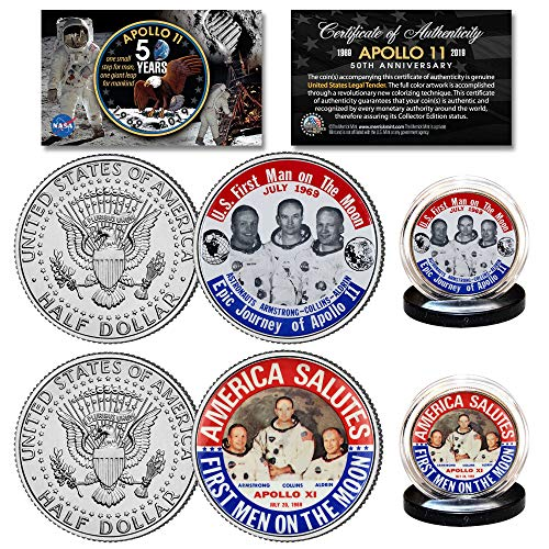 - APOLLO 11 1st Man on Moon JFK Half Dollar 2-Coin Set '69 Astronaut Button Design