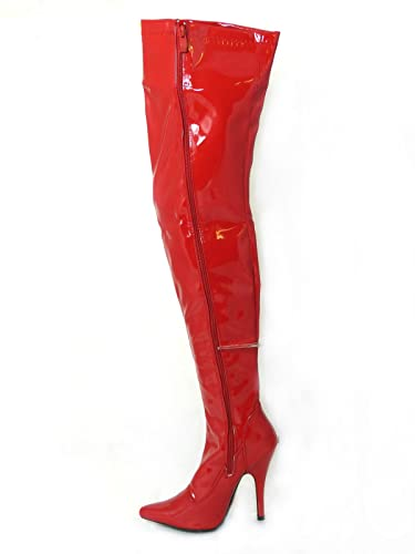 838182cb99a4 Womens Ladies Sexy Thigh High Kinky Fetish Over The Knee Stiletto Heel Full  Side Zip Boots Size UK 4-12  Amazon.co.uk  Shoes   Bags