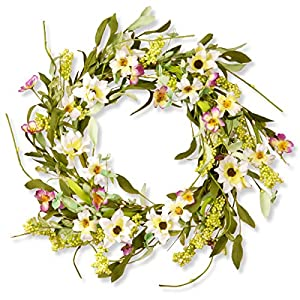 National Tree 20 Inch Floral Branch Wreath with White and Yellow Mixed Flowers (RAS-S8010) 4