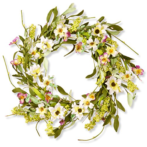 National Tree 20 Inch Floral Branch Wreath with
