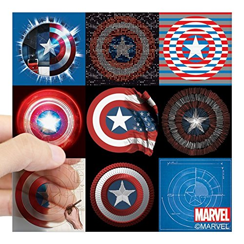 CafePress Captain America Anniversary Nine Shields Sticker Square Bumper Sticker Car Decal, 3