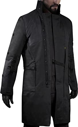 bd11bf52d94 Musterbrand Deus Ex Trench-Coat Men Jensen V4.0 Limited Edition Cotton Jacket  Black XS  Amazon.co.uk  Clothing