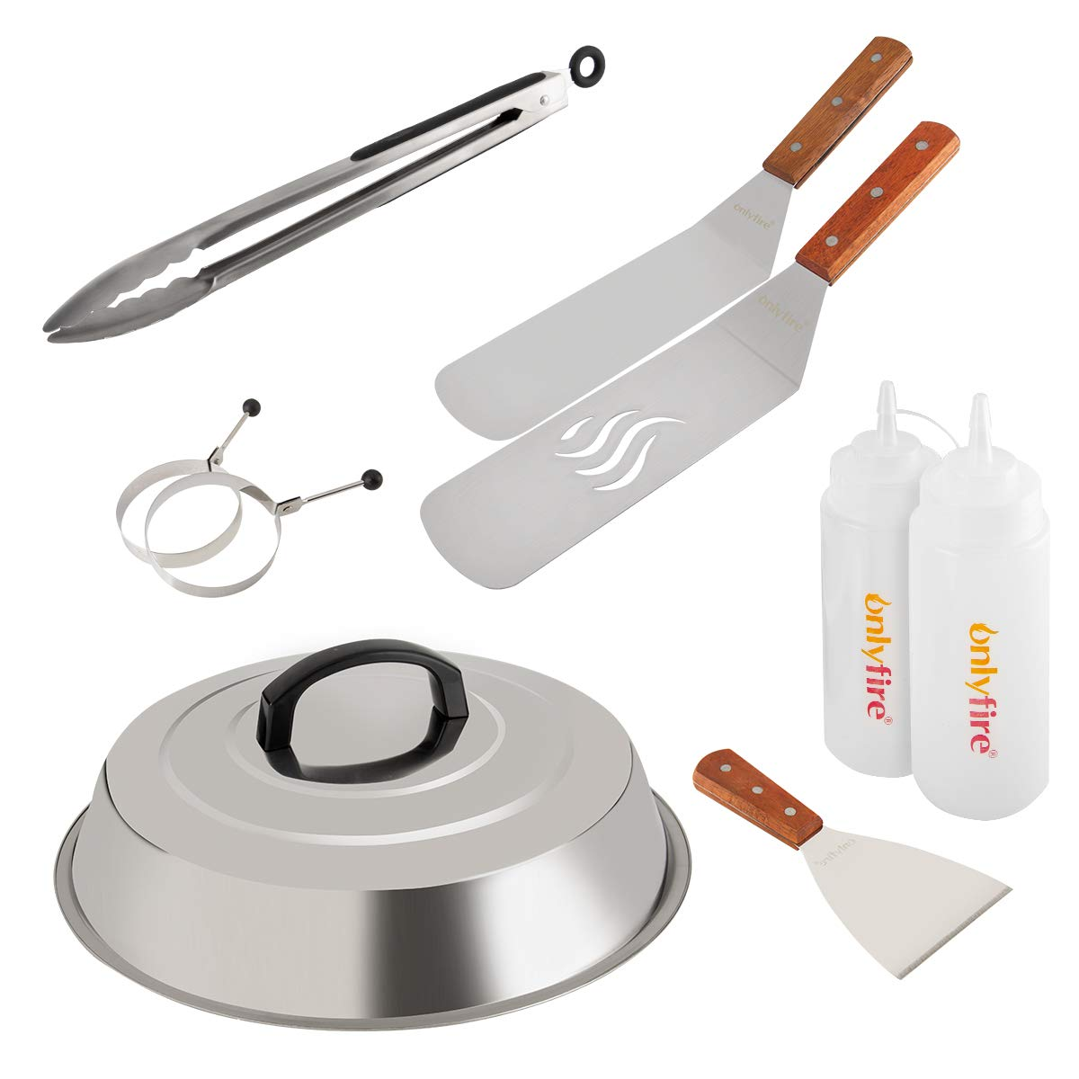 Onlyfire Professional BBQ Griddle Tool Kit Great for Grill Griddle Flat Top Cooking Camping, with One 12'' Melting Dome, 9 pcs