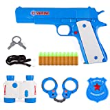 Yuanzu Toy Gun, Play Set By Classic Colt m1911 Pistol Binocular Goggles Soft Fluorescent Bullets And Handcuffs Plastic Policeman Kit And Tiger Animal Rings And Giraffe Realistic Replica Gun