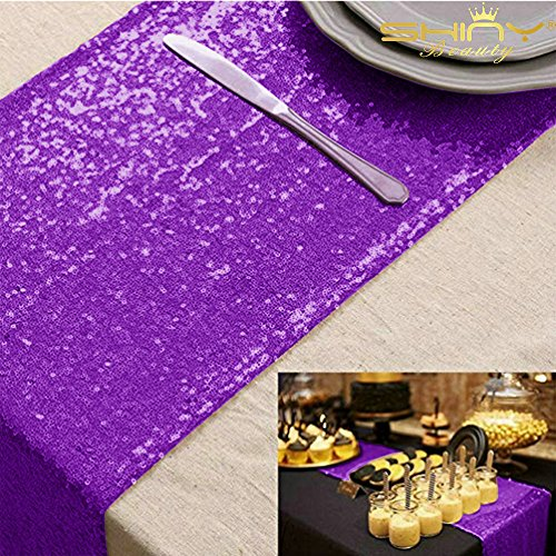 1272 Purple Sequin Table Runner Sparkly Metallic Sequin Runner for Wedding Party Dinner Reception, Event Bridalwedding Runner(Purple #49)