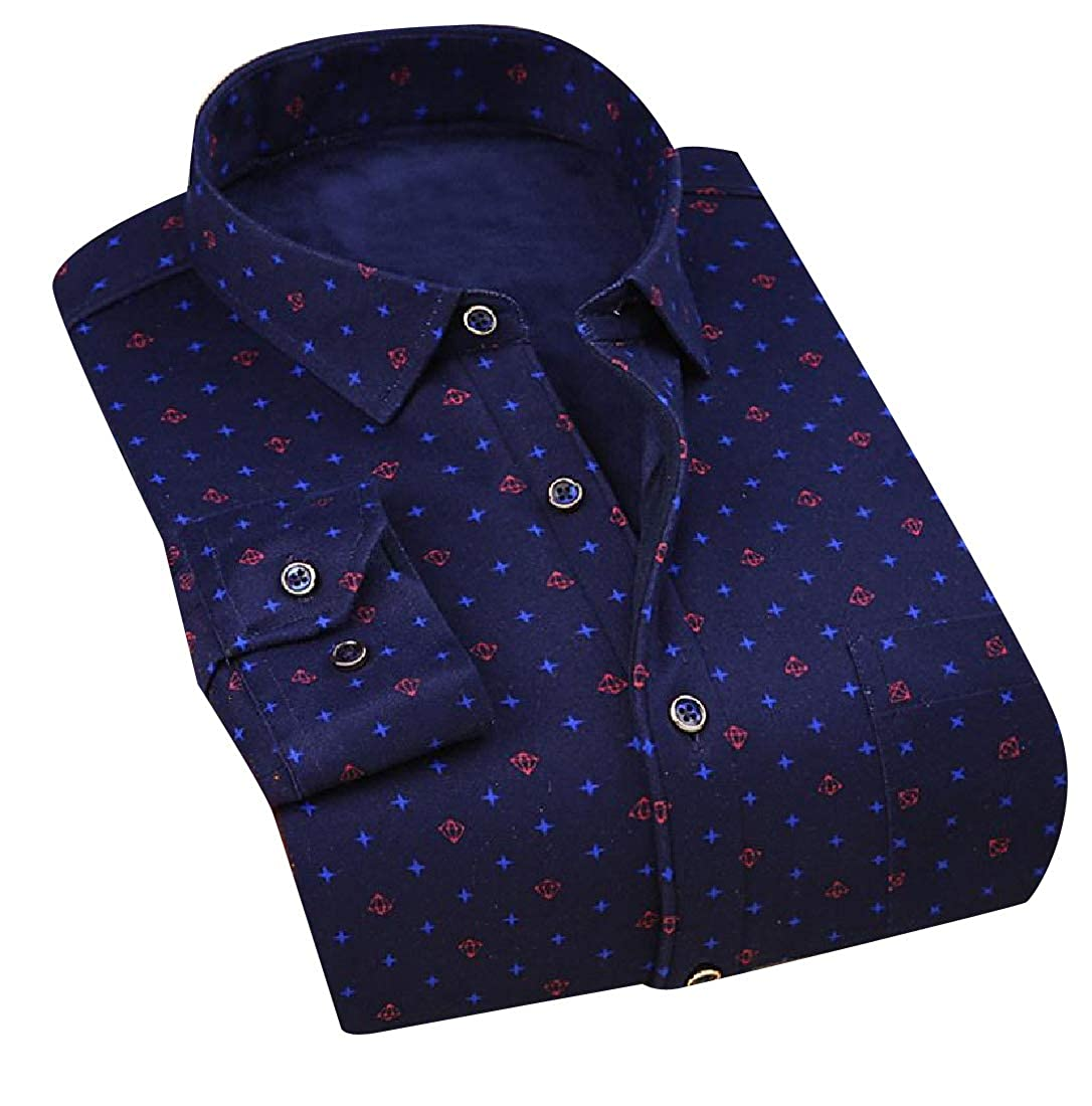 YUNY Mens Adult Relaxed-Fit Thickening Long Sleeves Woven Shirt 18 M