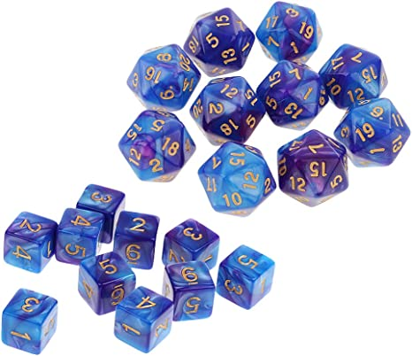 SM SunniMix 20PCS Dados D20 D6 de Color Azul Púrpura para Juego de ...