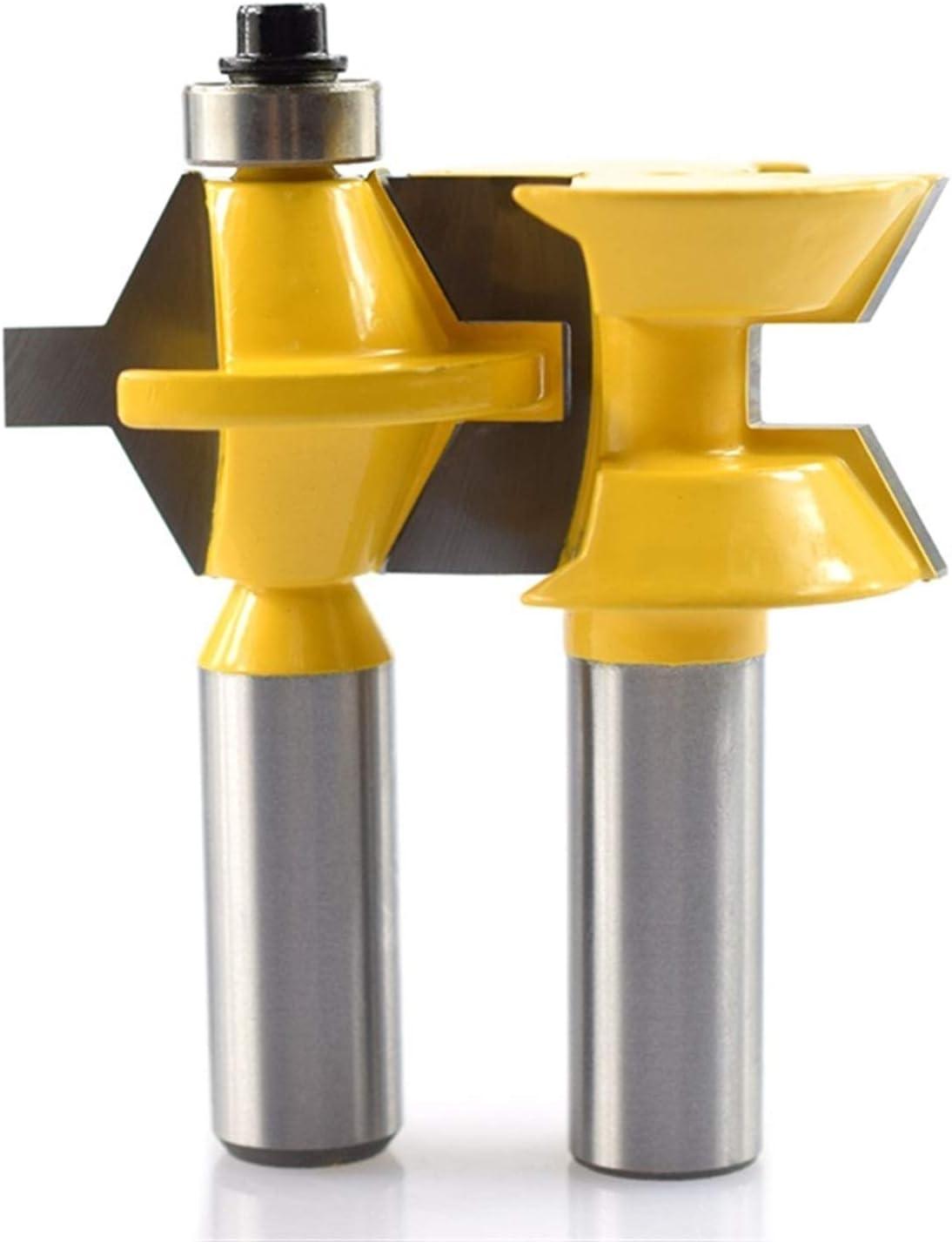 2pcs 12.7mm Bloqueo de vástago Mitre dedo enrutador de condo dedo Conjunto de bits de 120 grados enrutadores de madera Bits de madera contrachapada MDF Herramientas de carpintería