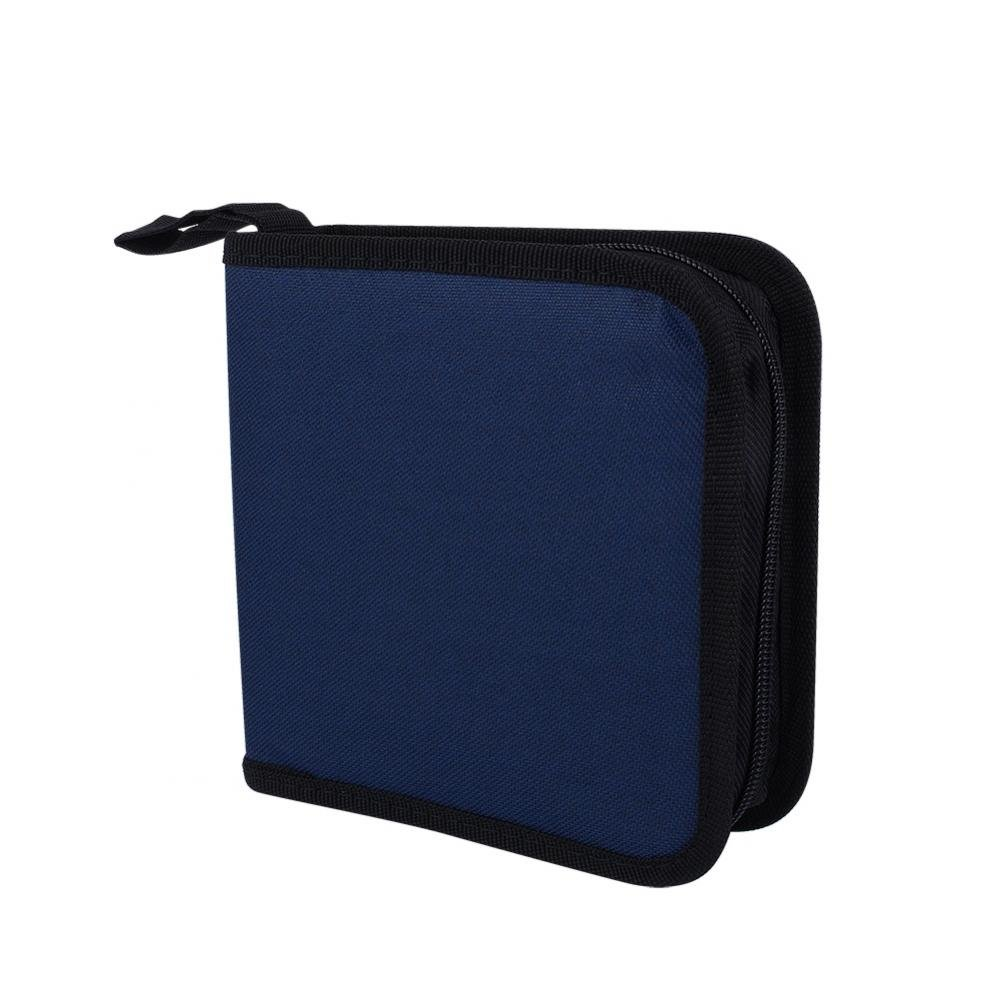 40 Capacity Disc CD DVD Portable Oxford Cloth Holder DJ Storage Zipper Case Bag Home Office and Travel Carrying Protector Organizer - Blue