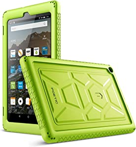 Poetic TurtleSkin Case for All-New Amazon Fire HD 8 Tablet (7th and 8th Generation, 2017 and 2018 Release) - Heavy Duty Silicone case and Sound-Amplification Feature Cover - Green