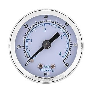 TOPINCN - Manómetro de presión de acero para la parte inferior de la esfera, compresor de aire, aceite de agua, serie de gas