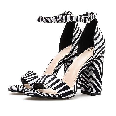 ea16d7528cbbe Amazon.com   Coco-Z Peep Toe Zebra Striped High Heel Sandals Buckle ...