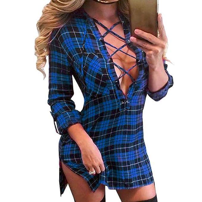 83d36a6b1d3c3 XRDSS Women Lace up Shirt Bandage Dress Plaid Deep V Neck Long Sleeve Slim  Fit Dress