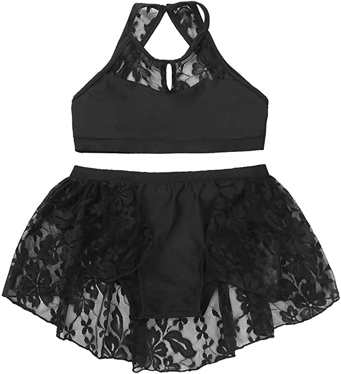renvena Kids Girls Two Piece Ballet Dance Performance Outfits Sleeveless Halter Floral Lace Tops Bottoms Set