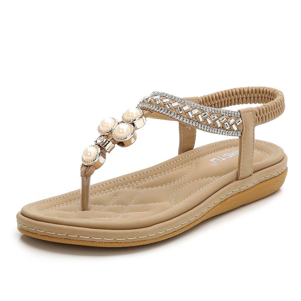 Wollanlily Womens Bohemian Thong Sandal Elastic Back Strap Clip Toe Rhinestone Flats Sandals Apricot-01 US 8