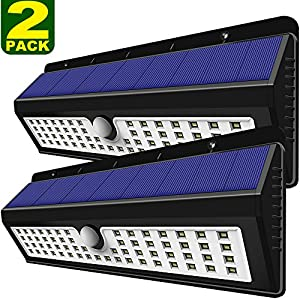 Solar Lights Outdoor, Lovin Product Home Security 62 LED Solar Powered Light; Super Bright Wide Angle; 3 Intelligent Modes; Motion Sensor Wall Lights for Outside/ Garage/ Garden/ Driveway (2 Pack)