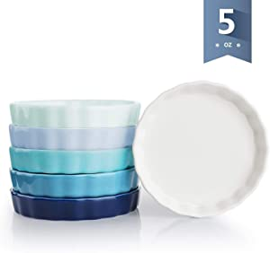 Sweese 505.003 Porcelain Ramekins Round Shape - 5 Ounce for Creme Brulee - Set of 6, Cool Assorted Colors
