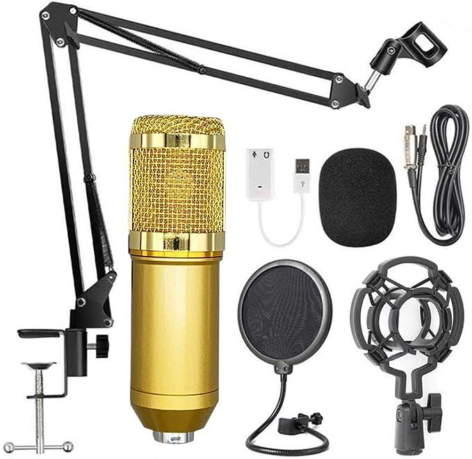 مجموعة ميكروفون مكثف USB QOZY ، مجموعة ميكروفون بودكاست ، معدات تسجيل ، لستوديو ألعاب الكمبيوتر البث الصوت حي فوق يوتيوب ASMR مع حامل البوب فلتر صدمة جبل