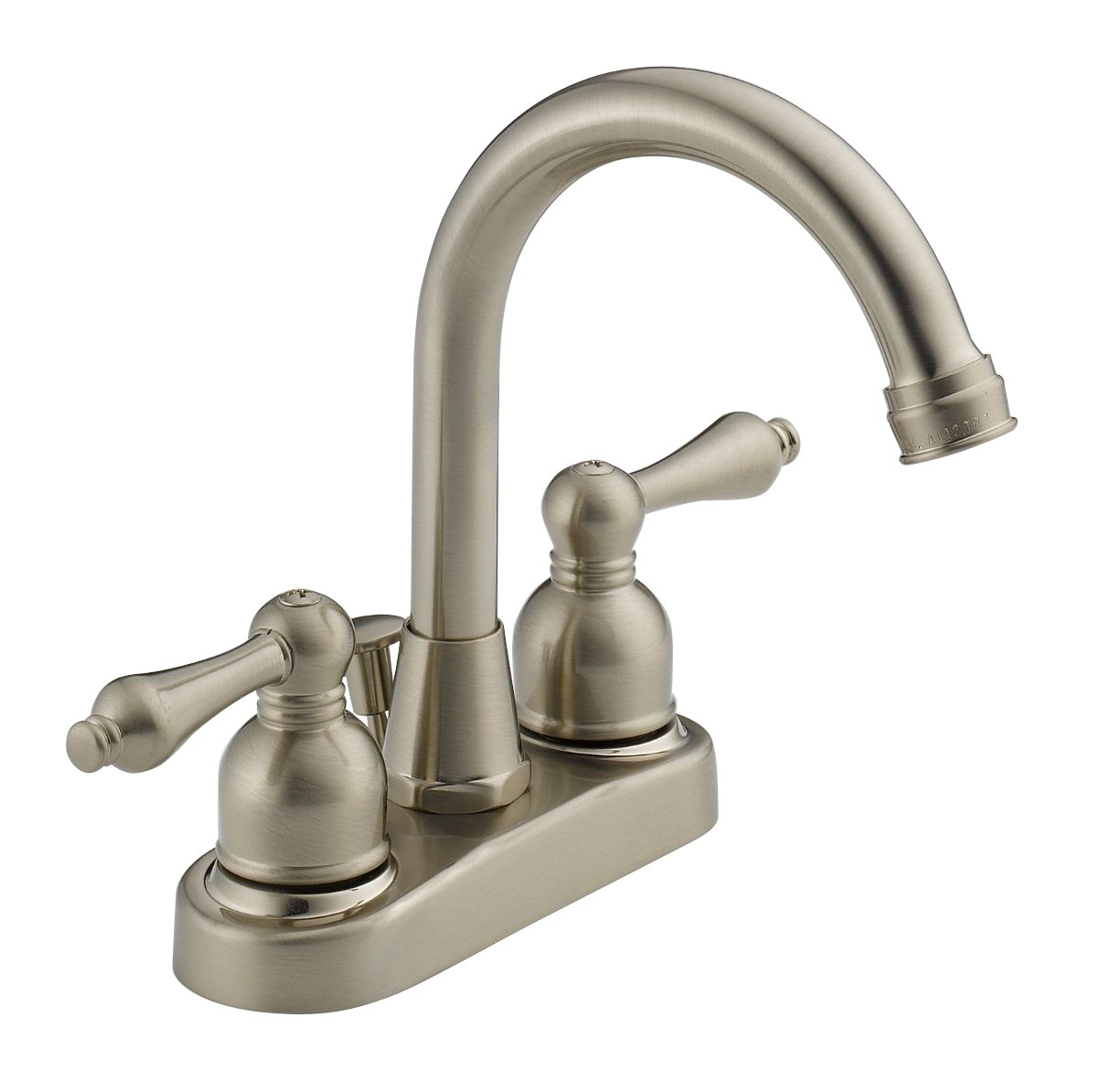 Westbrass WAS00X-07 Two handle Hi-Arc Spout Centerset Bathroom Faucet, Satin Nickel