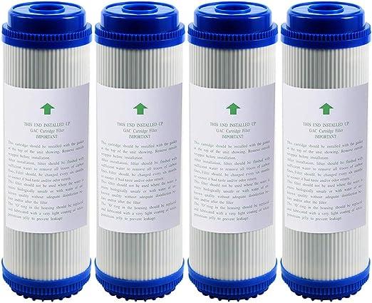 LZH FILTER Pack de 4 Filtro de Agua de Carbón Activo de Granulado ...