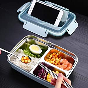 m·kvfa Stainless Steel Thermal Insulated Lunch Box Bento Food Lock Container Bag with Spoon and Chopsticks For Kids Women Office School Picnic Camping (Blue)